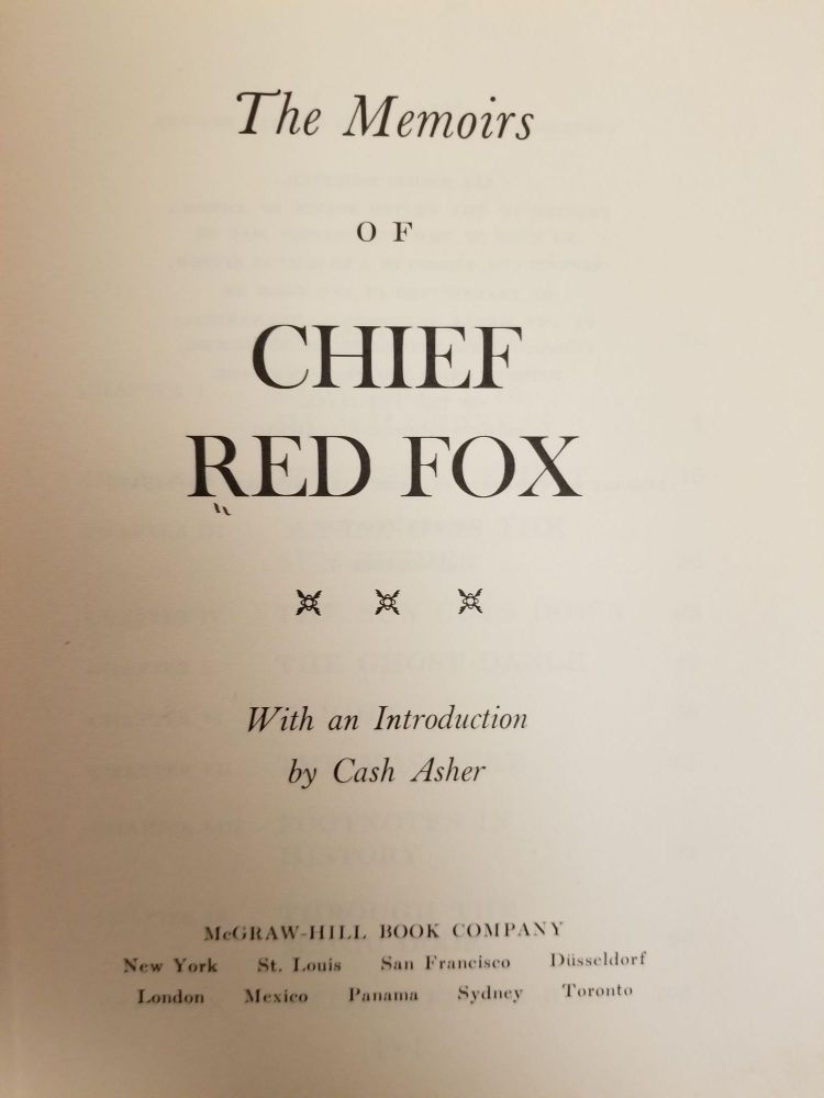 Memoirs of Chief Red Fox. Chief RED FOX, Cash ASHER.