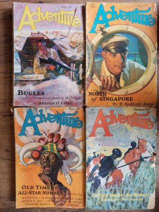 Set of 4 Adventure Magazines from 1929. ADVENTURE MAGAZINE