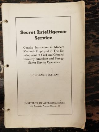Secret Intelligence Service [complete in 21 volumes]; Concise Instruction in Modern Methods...