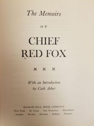 Memoirs of Chief Red Fox. Chief RED FOX, Cash ASHER