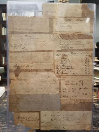 Collection of Antique Prescription Slips from 1858. MEDICAL HISTORY