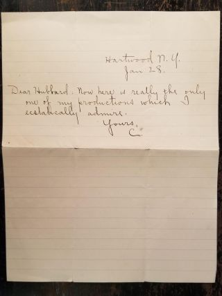 Handwritten Letters from Stephen Crane to Elbert Hubbard and Related Ephemera