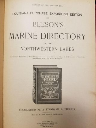 Louisiana Purchase Expedition Edition of Beeson's Marine Directory of the Northwestern Lakes