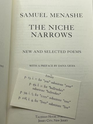 The Niche Narrows; New and selected poems