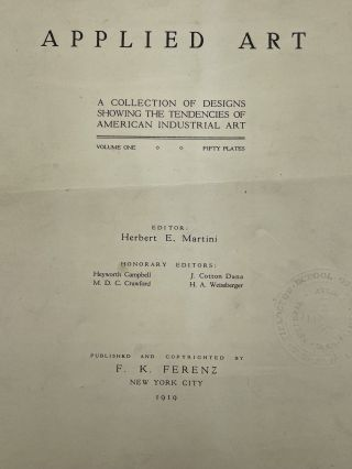 Applied Art; A collection of designs showing the tendencies of American industrial art; Volume One